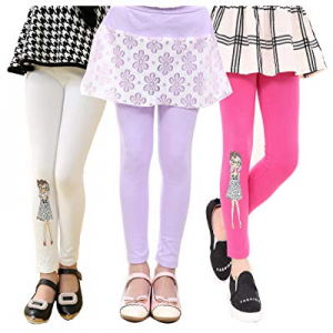 One Day Only!Beloved Lucia Girls Leggings Mid Waiste-Soft&Slim Cotton Printed Pants Spring Trousers