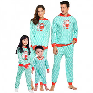 One Day Only!Teeker Christmas Family Pajama Set Holiday Macthing Loungewear PJ Sets Elk Santa Print