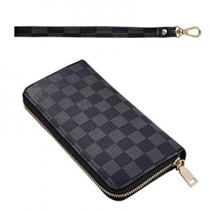 One Day Only!Long Clutch Wallets for Women now 40.0% off , Fashion Checkered Zip Around Wristlet Wal