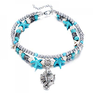 One Day Only!55.0% off Fesciory Women Starfish Turtle Anklet Multilayer Adjustable Beach Alloy Ankle