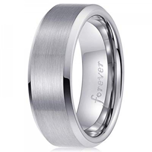 One Day Only!40.0% off PINONLY Classic Tungsten Carbide Ring Men Women Wedding Band 8mm Engagement R