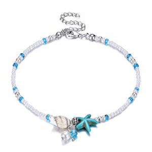 55.0% off Fesciory Women Starfish Turtle Anklet Multilayer Adjustable Beach Alloy Ankle Foot Chain B