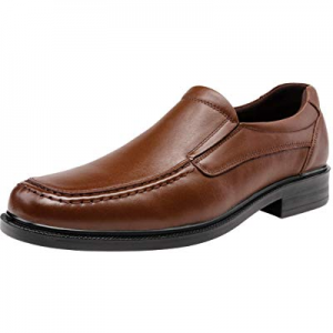 One Day Only!JOUSEN Men's Loafers Leather Oxford Slip On Driving Loafers Square Toe Formal Dress Sho