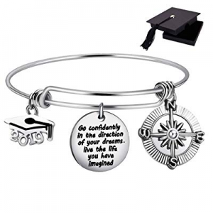 One Day Only!30.0% off Class of 2019 Graduation Gift Graduation Cap Bangle Bracelet Compass Expandab