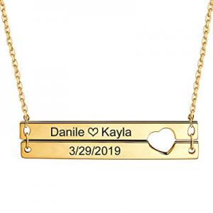 One Day Only!Hybedora Personalized Bar Necklace now 80.0% off , Engraved Birthstone Custom Name Neck