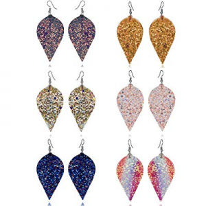 One Day Only!71.0% off U Angela 6 Pairs Faux Leather Glittery and Colorful Sequined Earrings Petal E