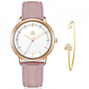 One Day Only!35.0% off SHENGKE Women's Watch Gift Set Quartz Leather Strap Simple Ladies Watch Girls