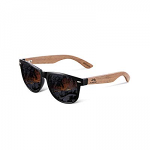 One Day Only!AMEXI Fashion Matrix Walnut Wood Blue Mirrored Wayfarer Sunglasses for Men Women now 15