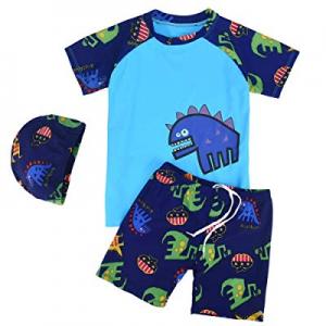 Exemaba Boys Two Piece Rash Guard - Toddler Kids Boys Dinosaur Short Sleeve Swimwear with Hat now 50