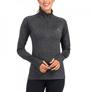 46.0% off Women's Yoga Jacket 1/2 Zip Pullover Thermal Fleece Athletic Long Sleeve Running Top with
