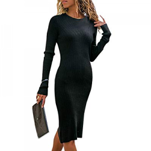 One Day Only!Nulibenna Womens Bodycon Sweater Dress Long Sleeve Crew Neck Ribbed Knit Mini Dress now