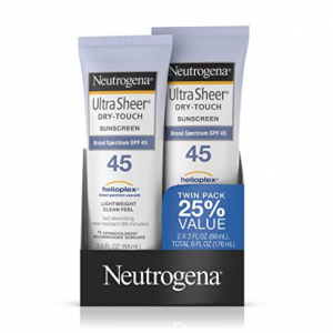 Neutrogena Ultra Sheer Dry-Touch Water Resistant Sunscreen Lotion SPF45 3 fl. oz, Pack 2