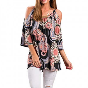 One Day Only!LOMON Tunic Top for Women Off Shoulder Summer Short Strap Ruffle Sleeves Blouse Shirt n