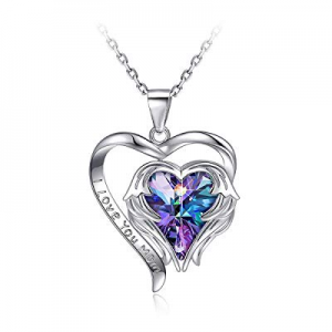 50.0% off PAERAPAK Heart Jewelry Necklace for Women - Angel Wing Heart of The Ocean Pendant Necklace