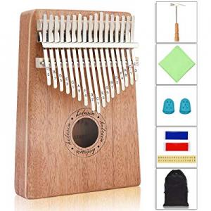 Kalimba now 10.0% off , Helesin 17 key Thumb Piano Solid Finger Piano with Locking system, Instructi