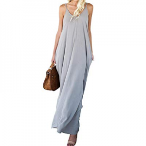 Mafulus Womens Summer Maxi Dresses Spaghetti Strap V Neck Sleeveless Casual Long Dress with Pockets