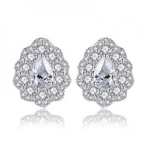 CZ Stud Earrings For Women - Cubic Zirconia Stud Earrings18K White Rhodium Plated Women Earrings now