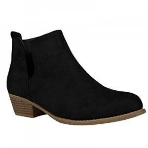 Womens Cutout Ankle Booties Slip on Chelsea Closed Toe Chunky Stacked Low Heel Boots now 70.0% off