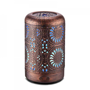 100ml Aromatherapy Essential Oil Diffuser Humidifier Bronze now 50.0% off , Mini Vintage Metal Ultra