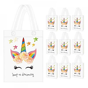 Seakcoik 10 Pack Unicorn Party Favor Gift Bags with Dreamlike Unicorn Design - Reusable Gift Tote Ba