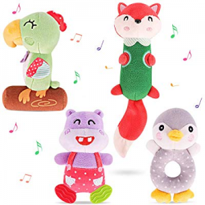 TUMAMA Newborn Baby Toys now 35.0% off , Soft Cute Plush Stuffed Animal Rattles for 0, 3, 6, 9, 12 M