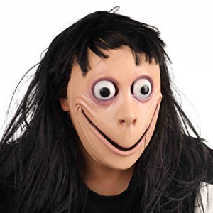 IFREE MOMO MASK now 15.0% off , Scary Latex Hot Momo Mask Hacking Game Full Head Mask with Wig, Hall