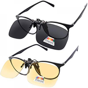 Polarized Clip on Sunglasses over Prescription Glasses Night Vision Driving now 25.0% off