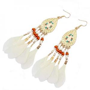 SOSUSHOE Ethnic Feather Dangling Earrings for Womens Bohemian Long Eardrop for Weddings Parties no..