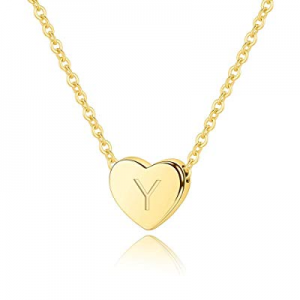 "M MOOHAM Heart Initial Necklace for Women - 16"" Heart Pendant 14K Gold Filled Letter Necklace now .."