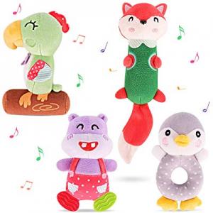TUMAMA Newborn Baby Toys now 50.0% off , Soft Cute Plush Stuffed Animal Rattles for 0, 3, 6, 9, 12..