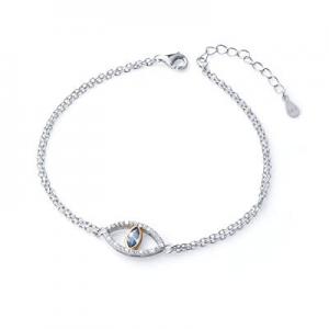 50.0% off 925 Sterling Silver Blue Evil Eye Double Strand Bracelet Necklace Stud Earrings Jewelry ..