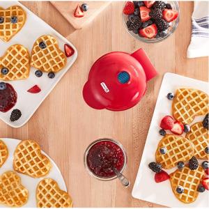 Dash DMW001HR Mini Heart Maker Waffle Iron, Shaped Goodness, Red @Amazon