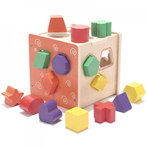 30.0% off Joqutoys Wooden Shape Sorter Cube for Toddlers Geometric Shape Sorting Learning Sort and..