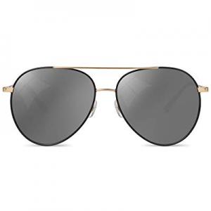 Sunglasses Aviator Black Mirror for Womens & Men now 15.0% off , 100% UV Protection Nylon Lens wit..