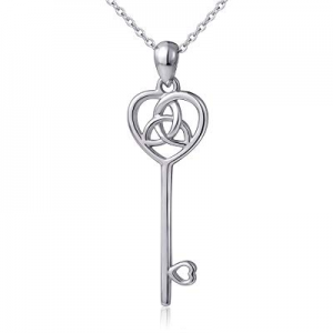 LINLIN FINE JEWELRY 925 Sterling Silver Irish Celtic Trinity Knot Heart Key Pendant Necklace for W..