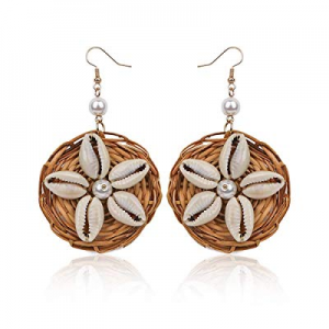 Rattan Shell Earrings for Women Handmade Straw Wicker Braid Drop Dangle Earrings now 55.0% off