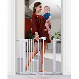 "Cumbor 38.5"" Auto Close Safety Baby Gate now 5.0% off , Extra Tall Durable Dog Gate with Door, Eas.."
