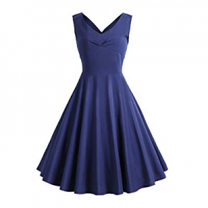 SOSUSHOE Womens 40s 50s Cocktail Dresses Sleeveless V Neck for Wedding Party now 40.0% off