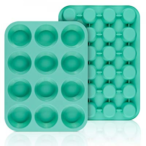 SJ European LFGB Silicone Muffin Pan now 51.0% off , Mini 24 Cups and Regular 12 Cups Cupcake Pans..