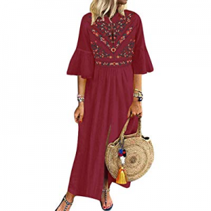 CNFIO Women's Bohemian Floral Embroidery Kaftans Dress Split Long Maxi Dress now 45.0% off