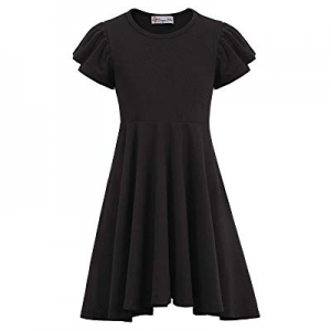 Danna Belle Girls Summer Double Layer Sleeves Irregular Hem Cotton A-Line Dress now 60.0% off