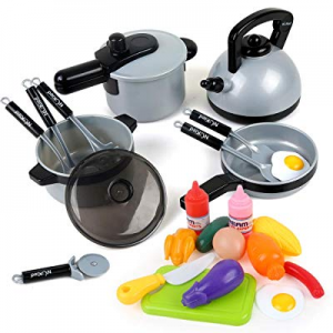 22 Pcs Kitchen Pretend Play Toys for Kids Toddlers now 20.0% off , Cookware Toys with Pots Pans Fo..