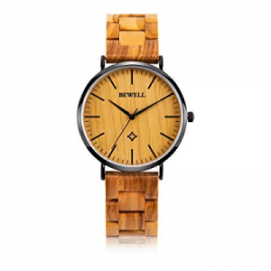 BEWELL Ultra Thin Wooden Watches Fashion Minimalist Analog Quartz Wristwatch for Men/Women now 30...