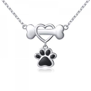 "925 Sterling Silver Forever Love Heart Dog Bone with Puppy Paw Pendant Necklace for Women, 18"" now.."