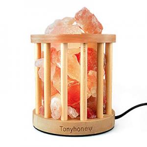 Natural Himalayan Rock Salt Lamp now 50.0% off , Tonyhoney Wood Art Salt Lamp Night Light, Air Pur..
