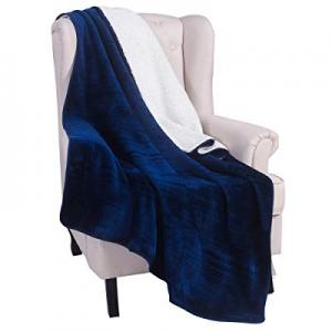 LITHER 500GSM Sherpa Fleece Blanket Throw Size Navy Blue Plush Reversible Lightweight Throw Blanke..