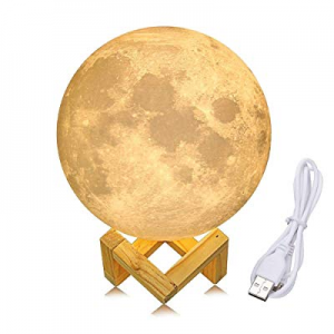 YSBER 3D Printing Moon Lamp now 50.0% off , Rechargeable Touch Control, Stepless Dimmable, Baby Nu..