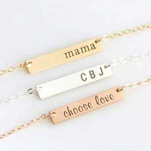 One Day Only!Personalized Bar Initial Necklace, Custom Engraved Name Necklace Jewelry Gift for Wom..