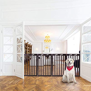 Docamor Wood Collapsible Pet Gate now 60.0% off , Freestanding Stair Gate for Dogs, Z Shaped Foldi..