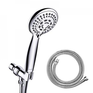 60.0% off CLOFY Handheld Shower Head 4'' Chrome Face 5-Setting Shower Head with Hose and Bracket H..